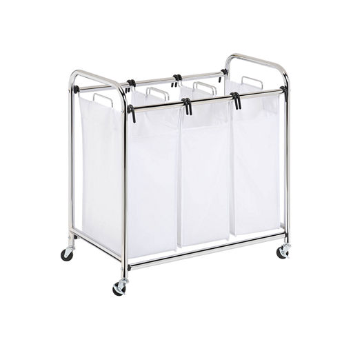 Honey-Can-Do® Chrome Heavy-Duty Triple Laundry Sorter