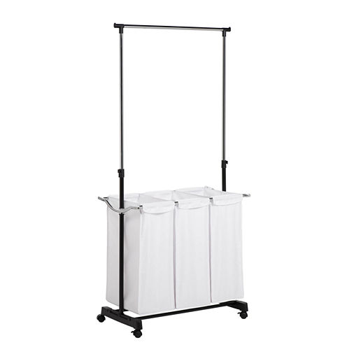 Honey-Can-Do® Triple Sorter Laundry Center + Hanging Bar