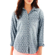 jcp™ Print Denim Shirt