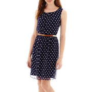 Alyx® Sleeveless Tuck-Front Dot Print Belted Chiffon Dress