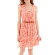 Alyx® Sleeveless Ruffle-Front Floral Print Belted Chiffon Dress