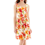 Alyx® Sleeveless Split-Neck Belted Full-Skirt Sundress