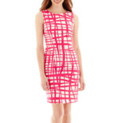 Alyx® Sleeveless Grid Print Sheath Dress
