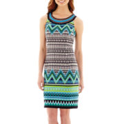 Studio 1® Sleeveless Embellished-Neck Geo Print Shift Dress