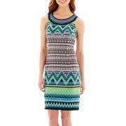 Studio 1® Sleeveless Embellished-Neck Print Shift Dress