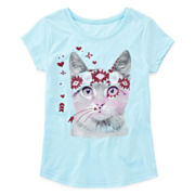Arizona Graphic Glitter Cat Tee - Girls 7-16 and Plus