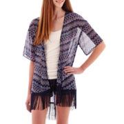 Arizona Short-Sleeve Print Fringe Kimono