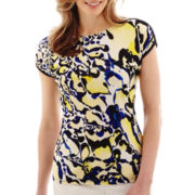 Liz Claiborne® Short-Sleeve Animal Print Top - Tall