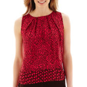 Liz Claiborne® Sleeveless Border Print Blouse