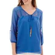 Alyx® 3/4-Sleeve Lace-Trim Peasant Top