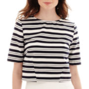 Stylus™ Short-Sleeve Striped Boxy Top