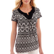 St. John's Bay® Short-Sleeve Crochet Knit Top - Petite