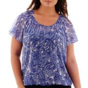 St. John's Bay® Flutter-Sleeve Print Peasant Blouse - Plus