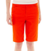 St. John's Bay® Secretly Slender Twill Bermuda Shorts