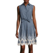 Trulli Sleeveless Tie-Waist Lace-Trim Fit-and-Flare Dress