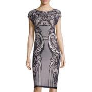 Trulli Cap-Sleeve Printed Midi Sheath Dress