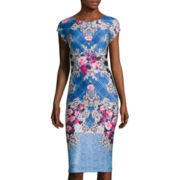 Trulli Cap-Sleeve Floral Scroll-Print Midi Sheath Dress