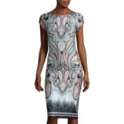 Trulli Cap-Sleeve Scroll-Print Midi Sheath Dress
