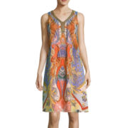 Studio 1® Scroll Print Beaded Neckline Dress