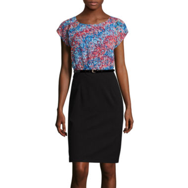 jcpenney.com | Alyx® Cap-Sleeve Abstract Ikat Belted Sheath Dress