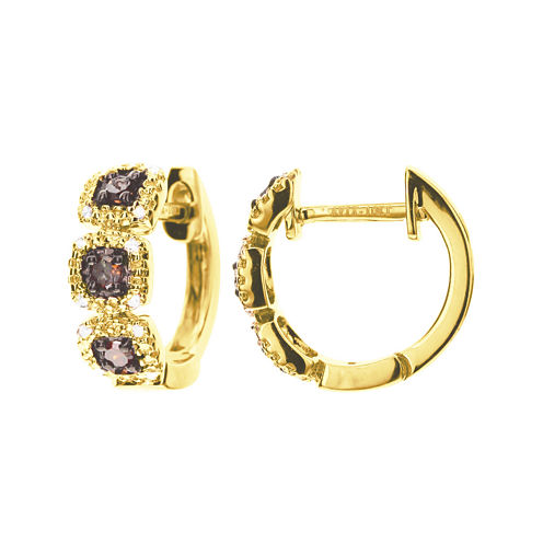 LIMITED QUANTITIES 1/7 CT. T.W. White and Champagne Diamond Hoop Earrings