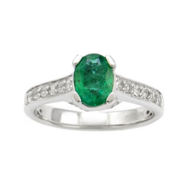 jcpenney.com | LIMITED QUANTITIES  Genuine Emerald & 3/8 CT. T.W. Diamond 14K White Gold Ring