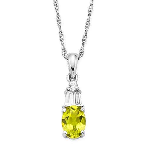 Genuine Peridot & Lab-Created White Sapphire Sterling Silver Pendant Necklace