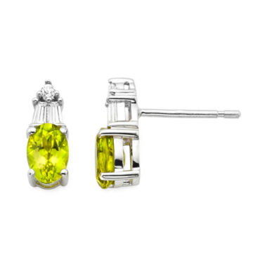jcpenney.com | Genuine Peridot & Lab-Created White Sapphire Sterling Silver Earrings