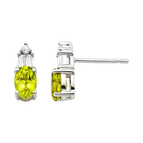 Genuine Peridot & Lab-Created White Sapphire Sterling Silver Earrings