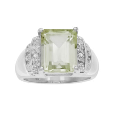 jcpenney.com | Genuine Green Quartz and White Topaz Sterling Silver Ring