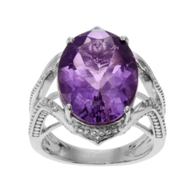 genuine amethyst sterling silver ring jcpenney