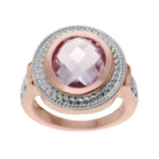 Genuine Pink Amethyst 14K Rose Gold Over Silver Ring