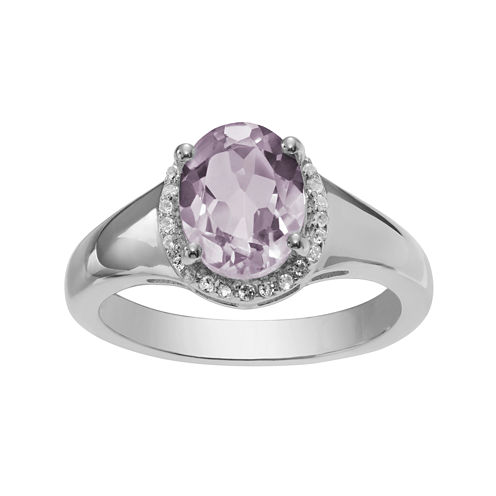 Genuine Pink Amethyst and White Topaz Ring