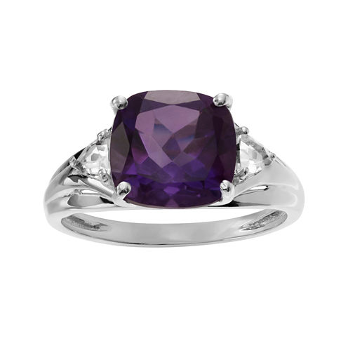 Genuine Amethyst & White Topaz Sterling Silver Ring
