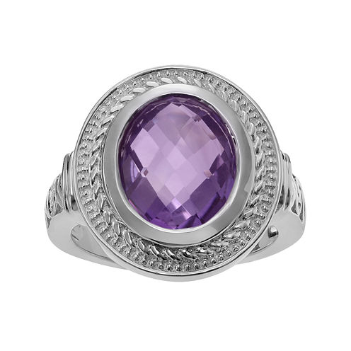 Genuine Amethyst Sterling Silver Solitaire Ring