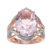 Journee Collection Genuine Pink Quartz 14K Rose Gold Over Silver Ring