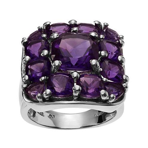 Genuine Amethyst Sterling Silver Cluster Ring
