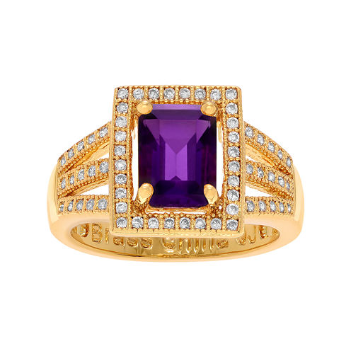 Genuine Amethyst Cubic Zirconia 14K Gold Over Brass Ring