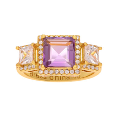 jcpenney.com | Genuine Amethyst White Topaz 14K Yellow Gold Over Brass Ring