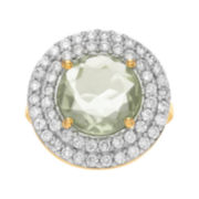 Journee Collection Genuine Green Quartz and Cubic Zirconia Ring