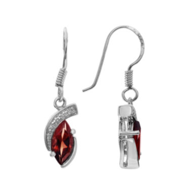 jcpenney.com | Genuine Garnet and White Topaz Sterling Silver Dangle Earrings