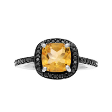 jcpenney.com | Genuine Citrine & Black Spinel Sterling Silver Ring