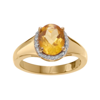 jcpenney.com | Genuine Citrine & White Topaz 14K Gold Over Silver Ring