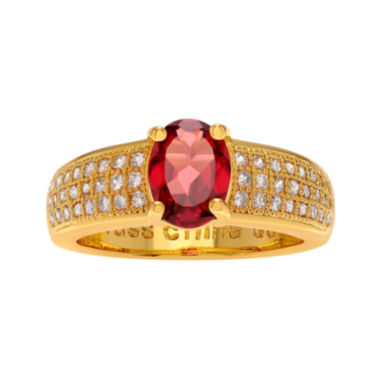 jcpenney.com | Genuine Garnet and Cubic Zirconia 14K Gold Over Brass Ring