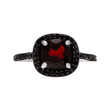 jcpenney.com | Genuine Garnet & Black Spinel Sterling Silver Ring