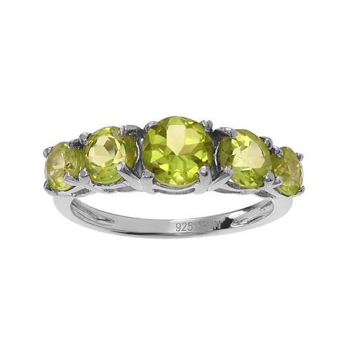 Genuine Peridot 5-Stone Sterling Silver Ring
