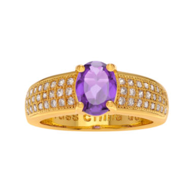 jcpenney.com | Genuine Amethyst and Cubic Zirconia 14K Gold Over Brass Ring