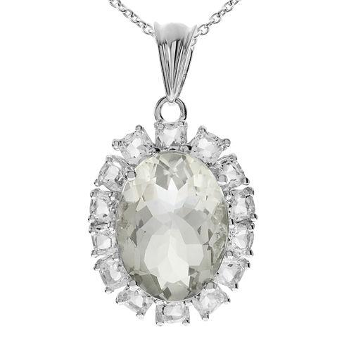 Genuine Green Quartz and White Topaz Sterling Silver Pendant Necklace
