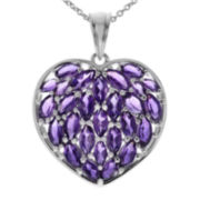 Genuine Purple Amethyst Sterling Silver Heart Pendant