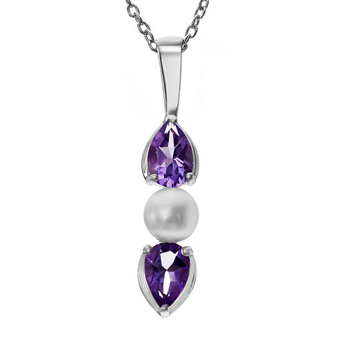 Genuine Amethyst & Simulated Pearl Sterling Silver Pendant